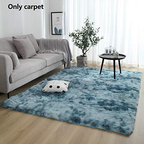 PENCIL2, tappeto moderno, lussuoso, super morbido, a pelo lungo, extra spesso, con fili luccicanti, per camera da letto e soggiorno, Dark Blue, 60x120cm