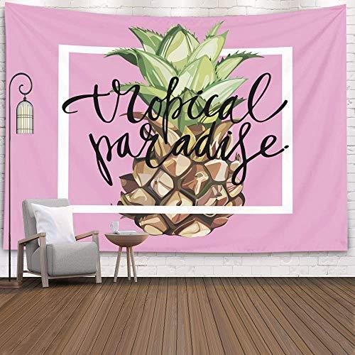 Tapiz decorativo para colgar en la pared, frase de letras de gran tamaño, paraíso tropical, piña, carteles de películas tropicales, accesorio para sala de estar, dormitorio, tapiz popular, azul verde