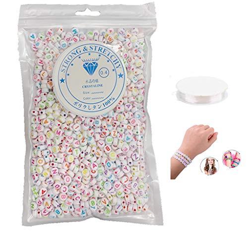4 mm*1200 Abalorios Letras Cuentas Alfabeto para Pulseras DIY Manualidades Cuentas del Alfabeto Con Cuerda de Cristal (26 Letras) Perlas Blancas