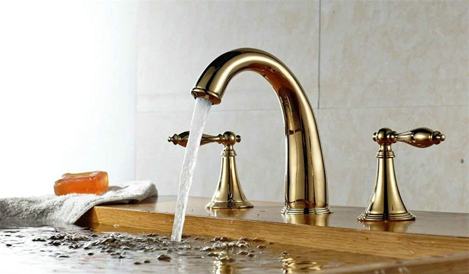 Oudan Kitchen Mixer Tap solid brass hot and cold kitchen sink basin mixer tap two handle tap sink faucet (color   -, Size   -)
