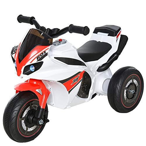 Homcom Porteur Enfants Moto de Course Effets musicaux et Lumineux Coffre Rangement Rouge Blanc