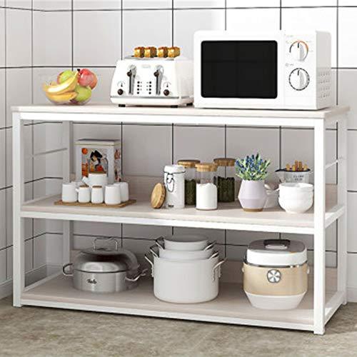 Rack de Isla de Cocina Estante de Cocina Piso Múltiple Microondas Microondas Horno Estante Cocina Suministros Cocina Daquan Almacenamiento Cesta (Color : White, Size : 79x30x100cm)