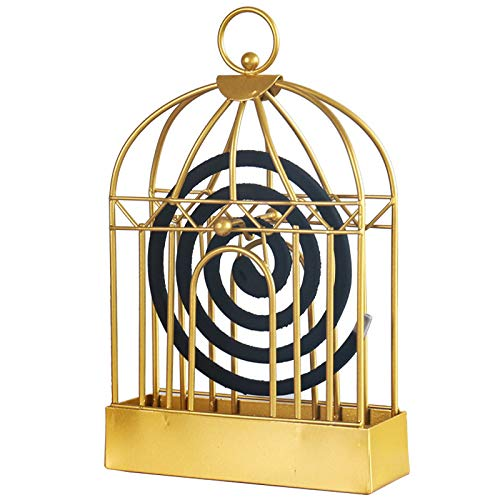 Mornenjoy Mosquito Coil Holder,Incense Holder Retro Portable Iron Mosquito Coil & Incense Burner Mosquito Repellent Metal Frame for Home Outdoor Patio,Living Room (Gold Birdcage)
