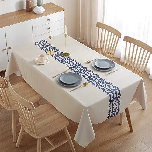 ZWOOS Mantel Antimanchas 140x200cm, Mantel Mesa Rectangular, Mantel para Mesa de Cocina o Salón PVC Mantel Hules para Mesas Impermeable Lavable Manteles Plastico para Interiores y Exteriores (A)