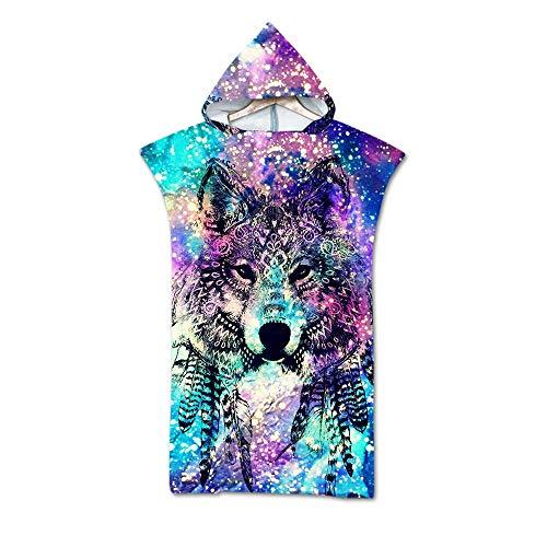 Treer Badeponcho Strand Poncho Strandtücher Handtuch, Schnelltrockend 3D Wolf Tierdruck Bade Bademantel Badetuch Duschtücher mit Kapuze Für Umziehhilfe beim Wassersport (75X110cm,Bunte Nation)