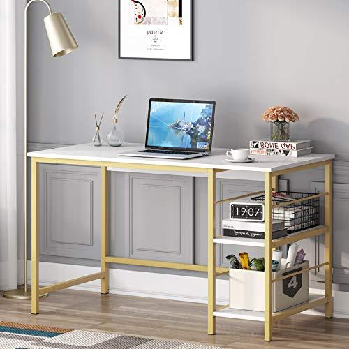 Tribesigns Computer-Schreibtisch mit 2 Ebenen Ablage, moderner großer PC-Laptop-Tisch, Arbeitsschreibtisch, Holz, einfacher Studenten-Schreibtisch, Arbeitsplatz für Home Office, weiß und gold