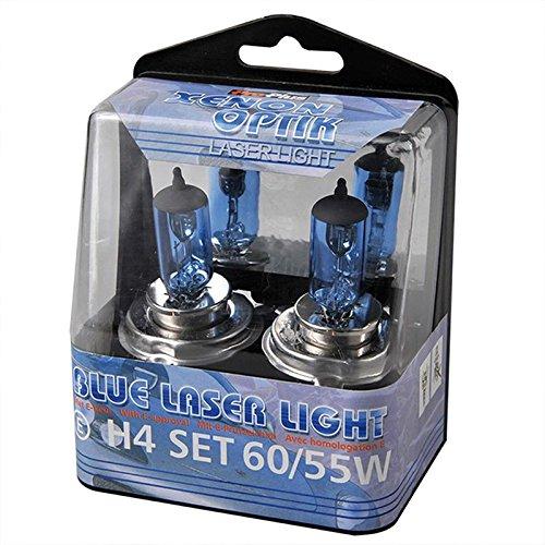 Boite de 2 Lampe Ampoule Halogene Xenon - 12v H4 60/55w - BLEU - Auto Voiture 06