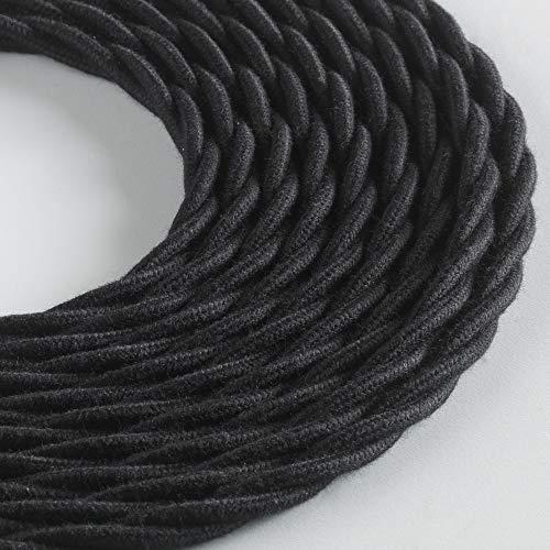 Klartext - Cavo tessile trecciato LUMIÈRE per illuminazione, 3x0,75mm, Cotone Nero, 3mt. Attenzione: cavo terra incluso! Massima sicurezza anti scossa!