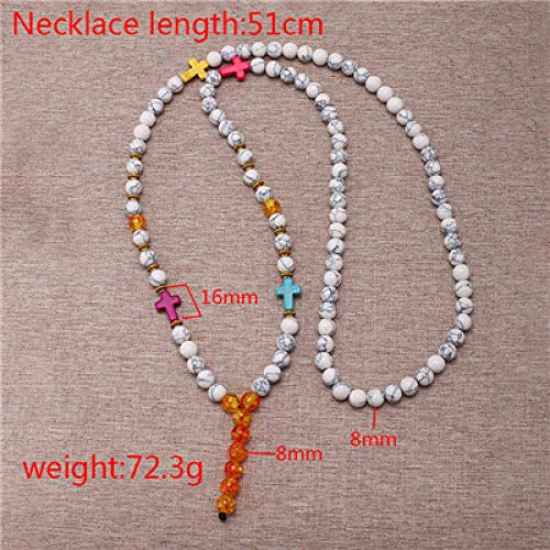 TFOOD Stone Halsketting voor dames, 7 chakra-hangers, onyx hanger, kruis, halsketting, hoelith-parels, halsketting, charm, balans energie, voor moederdag en mannen, geschenken