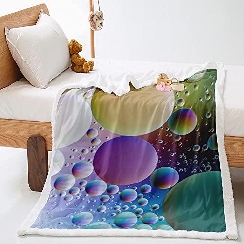 Manta de Lana de Cordero En Microfibra 130X150Cm Extra Suave Acogedora y Cálida Manta Rocío Morado 3D Impresión Cubierta de Cama Mantas de Sofa Cama para Adultos y Niños