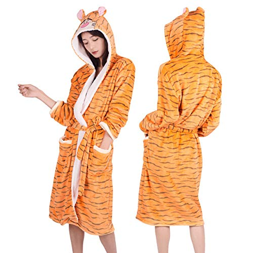 YPDM Nachthemd Erwachsene Winter Coral Velvet Hooded Unicorn Robe Frauen Flanell Bademantel Panda Stitch Tier Bademäntel Männer Lange Bademäntel, Tiger, M