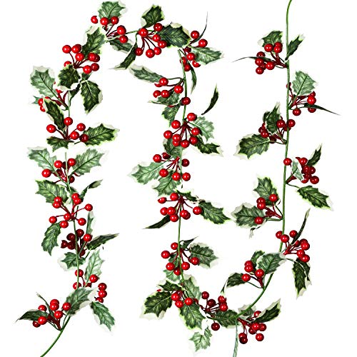 Lvydec Red Berry Garland Christmas Decoration - 5.8ft Artificial Greenery Garland with Red Berries and Holly Leaves for Holiday Fireplace Mantel Table Decoration