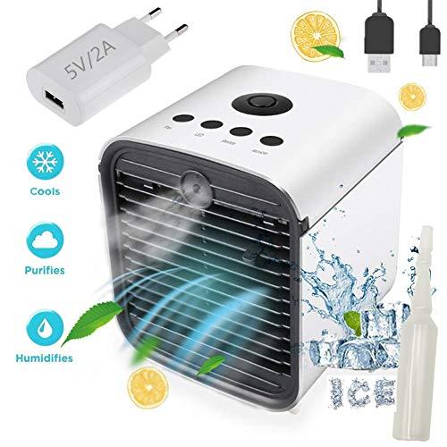 Nifogo Air Mini Cooler Aire Acondicionado Portátil - 3 en 1 Climatizador Evaporativo Frio Ventilador Humidificador Purificador de Aire, Leakproof, Nuevo Filtros (New + Adaptador)