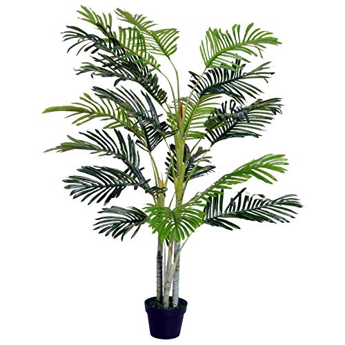Outsunny Palma Artificial 150cm con Cañas Naturales Árbol Planta Decorativa Sintética con Maceta...