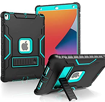 LTROP New iPad 10.2 Case iPad 8th/7th Generation Case with Built-in Screen Protector Heavy Duty Rugged Full-Body Drop Protection Stand Case Cover for iPad 10.2-inch 2020/2019 Black and Turquoise