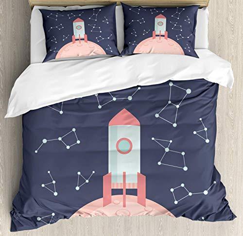 Juego de funda nórdica para el espacio ultraterrestre, estilo de dibujos animados divertido cohete en el planeta con líneas de puntos de constelación, juego de cama decorativo de 3 piezas con 2 fundas