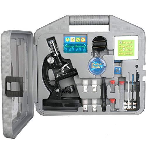 Amscope Kinder Mikroskop Experimentierset , 6-fache Vergrößerung 20X-1200X, beinhaltet 52-teiliges Zubehör Set und Koffer , 2016 ausgezeichet als eines der Besten Mikroskope für Anfänger