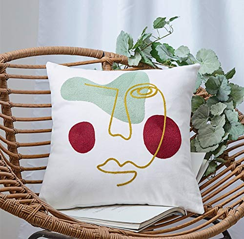 DUIPENGFEI 2pcs Modern Abstract Cartoon 3d Towel Embroidered Cotton Pillowcase Sofa Office Embroidered Pillow Car Cushion, Right Face, 45 * 45cm
