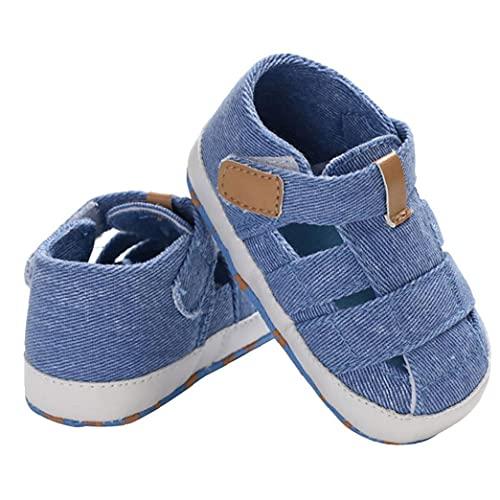 Baby Jongens Sandals Canvas Non-Slip Soft Sole gesloten teen eerste wandeldag Zomer Schoenen voor 3-18m peuters Blue
