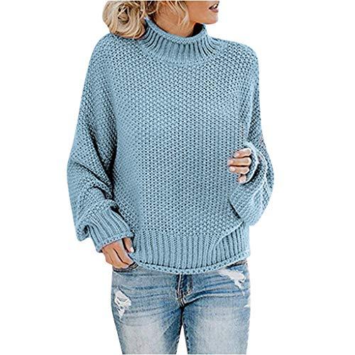 Dasongff gebreide trui voor dames, gebreide losse lange mouwpullover met hoge kraag, vrije tijd, elegante sweatshirt met lange mouwen, winter blouse, oversize, warme rolkraagpullover Large blauw