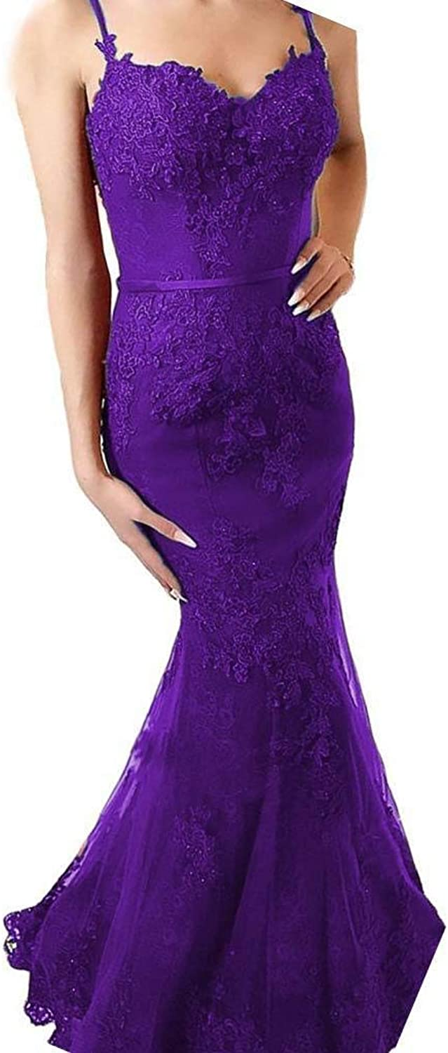 XingMeng Women's Spaghetti Lace Mermaid Prom Dress Backless Formal Evening Party Gowns