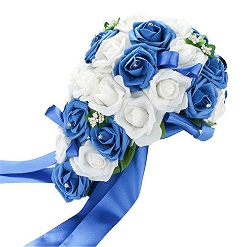 Tangbasi Romántico Ramo de Novia Rosas Artificiales Ramo de Flores para la Boda (Blanco&Azul Oscuro)