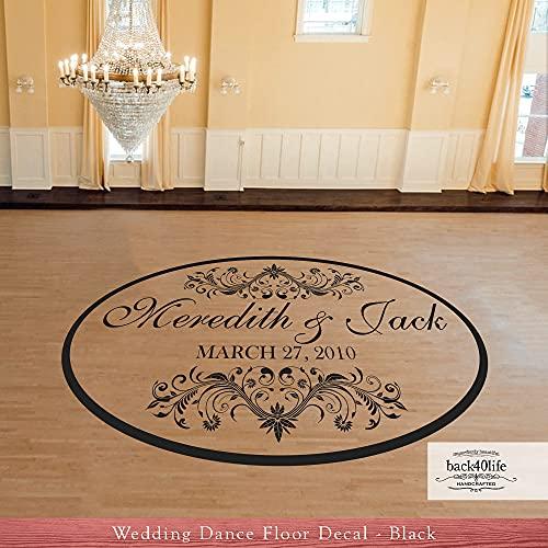 Elegant Oval Wedding Reception Dance Floor Vinyl Decal (W-006) - Back40Life