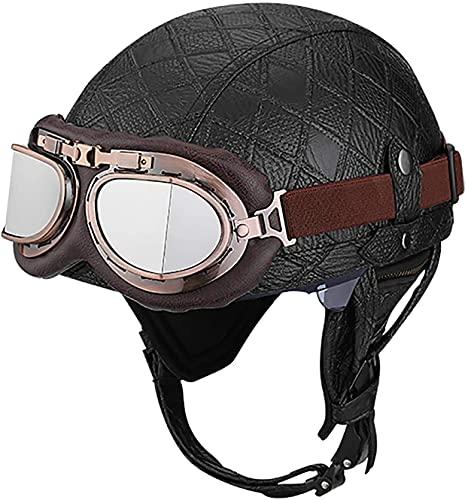 OOMEI Medio Casco de Moto Abierto,Casco Moto Jet Vintage Casco de Motocicleta para Hombres y Mujeres Retro Seguridad Ligera Eléctrico Casco Half-Helmet,ECE Homologado (Color : D, Size : S=54~56cm)