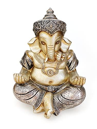 Deko Figur Ganesha Figur sitzend 21 cm, Polystein champagner silber Hindu Gott Buddha Indien Asien Elefantengott Statue Ganesh Elefant