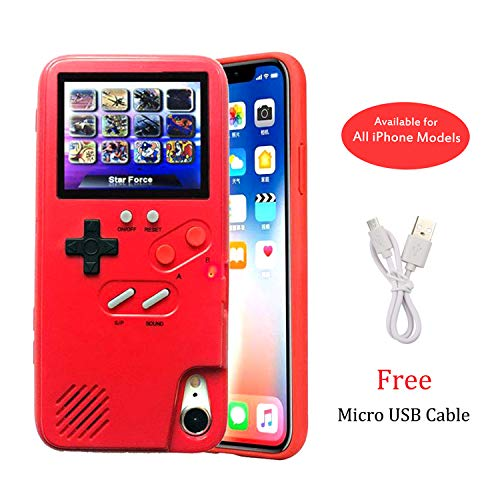 Gameboy Case for iPhone 11, Retro 3D Playable Gameboy Cover Case with 36 Classic Games, Handheld Color Screen Video Game Console Case for iPhone (Red, iPhone 11)