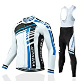 JEPOZRA Maillot Ciclismo Hombre Ropa Bici Camiseta Manga Larga Chaqueta Transpirable y Pantalon Largo Termico MTB Gel (Blanco/Negro, L)