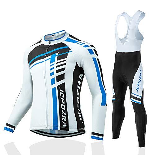 JEPOZRA Abbigliamento Ciclismo Uomo Invernale Giacca Bici Maglia Ciclismo Manica Lunga e Gel Pantaloni Lunghi MTB Termico Salopette Ciclismo