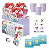 The Little Mermaid Under the Sea Ariel Birthday Party Supplies Pack - Serves 16 - Tablecover, Plates, Cups, Napkins, Tattoos, Button