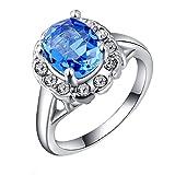 2018Fashion boda dedo anillo joyería de la mujer de Classic Fancy Lady Platinum Blue Diamond anillo Reino Unido tamaño O