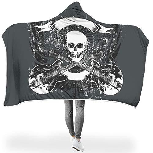 NC83 vleermuisdeken, gitaarschedel patroon print super warme robe - soort oversized past wooncultuur gebruiken