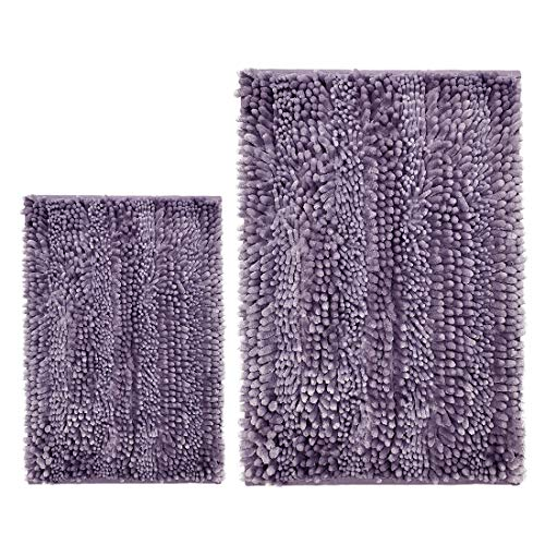 Cosyroom Set 2 Piece Shaggy Bathroom Rug, Luxury Butter Chenille Bath Mats Non-Slip Shower Mat Carpet Floor Rug Machine Washable, Super Absorbent Washable Bath Mat Set, Light Purple