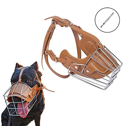 HITNEXT Bozal de perro para morder, bozal de cuero de metal para perro mediano y grande, hocico ajustable negro con perforador de cuero para no ladrar, morderse y masticar (XL)