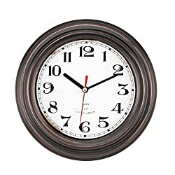 Lumuasky 8 Inch Metal Wall Clock Silent Non-Ticking Retro Vintage Round Quartz Decorative Battery Operated Wall Clock for Living Room Kitchen Home Office School