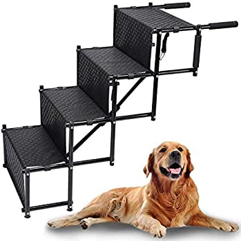 WANTRYAPET Upgraded Dog Car Steps Stairs with Metal Fram Nonslip Foldable Large Dog Stairs Ramp Lightweight Adjustable Dog Ramp Support 150 Lbs Pet Great for Cars Trucks and SUVs Cargo