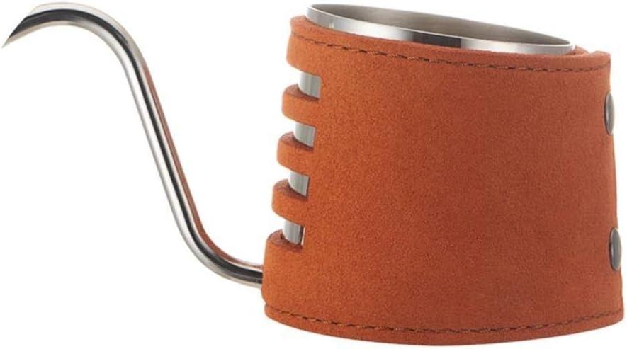 Cafetera Nuevo favorito de Barista - Verter sobre el café Caldera superior de la calidad de mano de acero inoxidable goteo Caldera con el cuero auténtica envuelta, cuello de cisne, gris Para el hogar