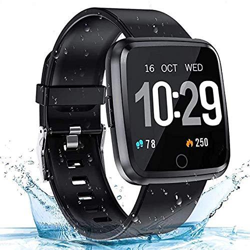Zagzog Smartwatch Wasserdicht IP68 Bluetooth Smartwatch Pulsuhr Fitness Tracker Sportuhr mit Kamera Romte Schlafmonitor Kalorienzähler erfassen SMS Whatsapp Note Kompatibel für IOS Android (Schwarz)