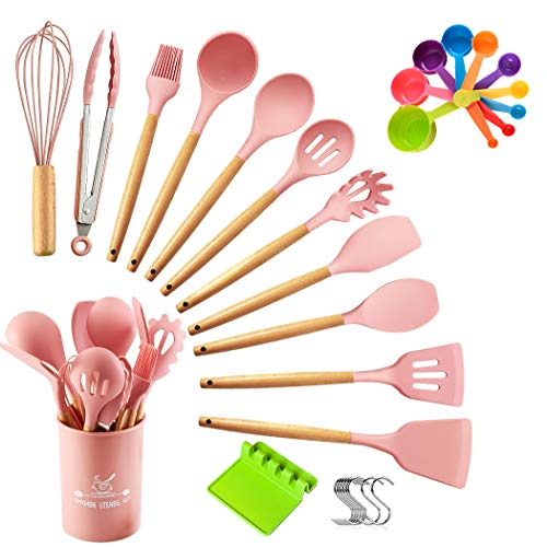 Top4you Silicone Cooking Utensils Set, 33 pcs Kitchen Utensils for Cooking and Baking, Non-stick Heat Resistant Cookware Set with Holders, Durable Kitchen Gadgets with Wooden Handles.