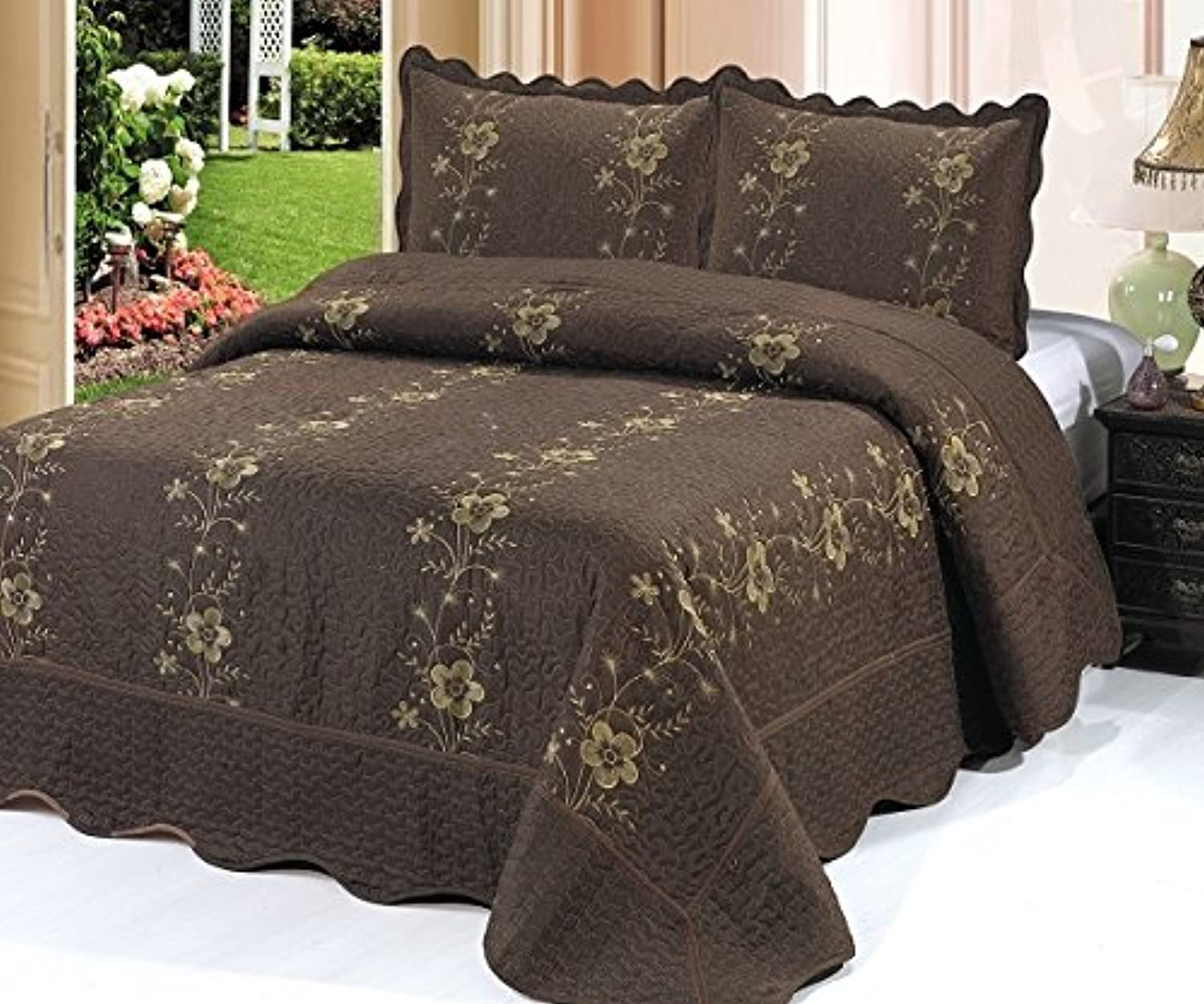 Home Must Haves Queen Set 3 Piece Bedspread Brown Quilt Sham Floral New