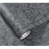 New Cement Gray linen pattern waterproof wallpaper self-adhesive solid color dormitory bedroom wall stickers cabinets furniture,Cement dark gray,3mx60cm