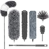 DELUX Microfiber Feather Duster,7 PCS Reusable Bendable Cobweb Duster with 100 inches Extra Long Extension Pole,Washable Dusters for Cleaning Ceiling Fan, High Ceiling, Blinds, Furniture & Cars