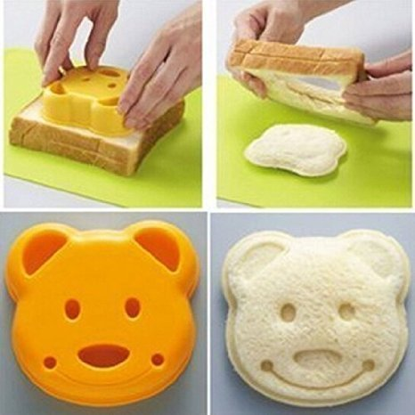 QTMY Bear Shape Sandwich Mold Cutter,Bread Sandwich Shapers Maker for Kids