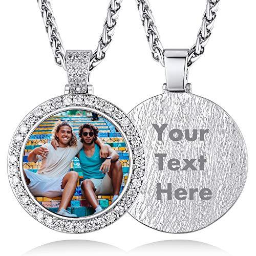 Zirkonia Halskette mit Fotogravur und Textgravur Silberfarbe Runder Anhänger Kupfer mit Glasschicht Eigener Fotogravur für Damen Herren 75cm mit 5cm Verlängerungskette