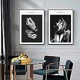 Modern Vogue Cover Black White Hat Caballero Lienzo Pintura Arte de la Pared Imagen Fotografía de Moda Impresiones Póster Decoración del hogar, 40x60cmx2Pcs (sin Marco)