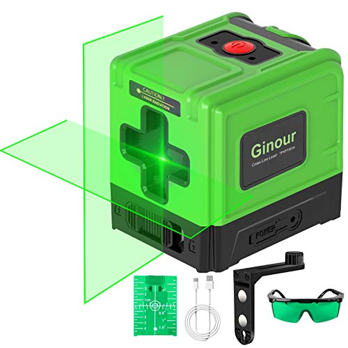 Line Laser Level, Ginour 100FT /30M Self Leveling Green USB Fast Charger, Horizontal &Vertical Cross Line Laser with Magnetic Base, Protective Glasses and Reflector, Best for Indoor Outdoor Decoration