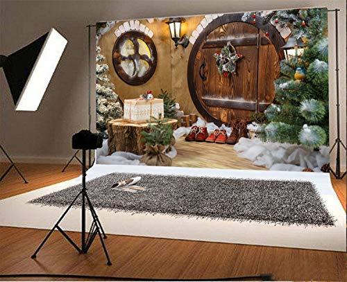 MMPTn 10x6.5ft Vinyl Fotografie Hintergrund Türen GNOME House mit Weihnachtsschmuck und Schuhe Szene Foto Hintergrund Kinder Baby Erwachsene Porträts Hintergrund